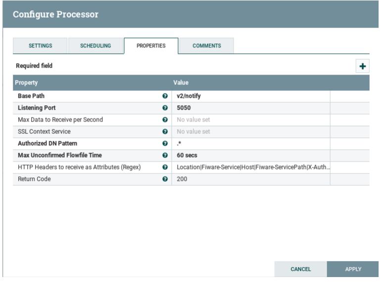 Processors configuration - fiware-draco